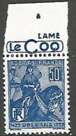JEANNE D�ARC PUB LE COQ  N� 257  NEUF** LUXE