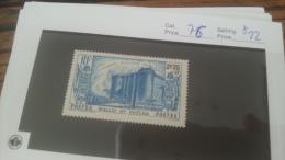LOT 222716 TIMBRE DE COLONIE WALLIS NEUF* N�76 VALEUR 22 EUROS