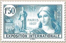 Propagande Pour L'Exposition Internationale De Paris. 1f.50 Bleu-vert Y336 - Frankreich