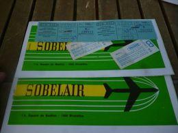 CB3 Lot 2 tickets aviation Sobelair Bruxelles Tunis 1971