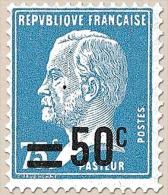 Type Pasteur (177)surchargé. 50c. Sur 75c. Bleu (177) Y219 - Frankreich