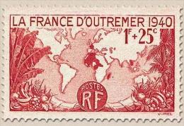 Pour La France D'Outre-Mer. Carte De L'Empire Français. 1f. + 25c. Rouge Y453 - Frankreich