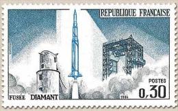 Lancement Du Premier Satellite National, à Hammaguir (Sahara) 30c. Bleu-vert, Bleu-noir Et Bleu. Fusée Diamant. Y1464 - France