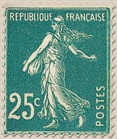 Type Semeuse Fond Plein Sans Sol, Grasses. 25c. Bleu (IA) Y140 - Frankreich