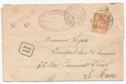 - Lettre - SEINE INFER. - LE HAVRE - INGOUVILLE Càd S/TP Sage N°94 -  RECOMMANDEE - 1897 - 1876-1898 Sage (Type II)