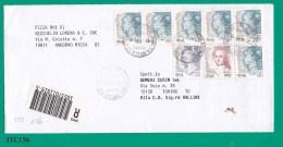 ITALIA, 2001, Busta Viaggiata Affrancata Con Strissca Di 5 Donne Nell'arte 0,45 Più Altri Valori - 6. 1946-.. Republik