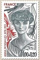 Personnages Célèbres. Au Profit De La Croix-Rouge. Anna De Noailles 1f. + 20c. Gris-bleu Et Brique Y1898 - Francia