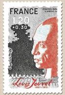 Personnages Célèbres. Louis Jouvet (1887-1951), Artiste Et Directeur De Théâtre. 1f.20 + 30c. Gris-noir Et Vermillon Y21 - France
