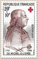 Au Profit De La Croix-Rouge.  Abbé De L'Epée  20f. + 10f. Noir Et Brun-violet. Neuf Luxe ** Y1226 - France