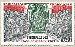 Grands Noms De L'Histoire. Philippe IV Le Bel (1268-1314), Etats Généraux De 1302 40c. Gris, Rouge-brun Et Vert Y1577 - Francia