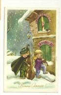 Bonne Année. Deux Enfants Musiciens Dans La Neige. Signée Galbiati. 1961. JC - Illustratoren & Fotografen