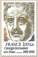 Personnages Célèbres. Georges Bernanos 1f. + 20c. Olive, Brun-jaune Et Bleu-gris Y1987 - Francia