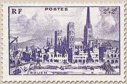 Au Profit De L'Entraide Française. Cathédrale Et Quai De Rouen. 2f.+2f. Violet Y745 - Francia