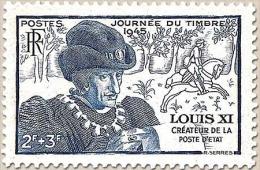 Journée Du Timbre. Effigie De Louis XI. Au Profit De L'Entraide Française. Louis XI (1423-1483) 2f.+3f. Bleu Y743 - Frankreich