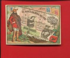 PARIS BANQUE CHANGE CUINAT GARDY BD BEAUMARCHAIS ORDRE BOURSE PENSIONS  CHROMO  TIMBRE MONNAIE PEROU NUMISMATIQUE - Trade Cards