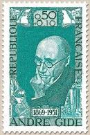 Célébrités Du XVIIIe Au XXe Siècles. André Gide , écrivain 50c. + 10c. Émeraude Y1594 - Francia