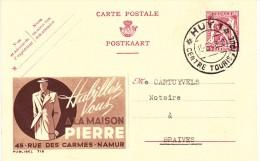 PUBLIBEL 718 - Maison PIERRE - NAMUR. Obl. HUY 1 / Centre Touristique - Stamped Stationery