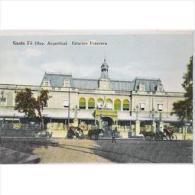 ARGTP1152C-LFTD5637TASSC . Postal DE ARGENTINA.Arboles,vias Tranvia.ESTACION DE FERROVARRIL.SANTA FÉ. - Edificios & Arquitectura