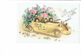 Illustration Bonne Fête Pittius 1187 - Chats Humanisés Dans Une Voiture Style Simca Souris Mouse - 1900-1949