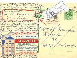 """PUBLIBEL 2452 F -  PARATONNERRES - Rue Jos BENS - Etiquette """" INCONNU """" Et """" Retour à L'envoyeur """" - Enteros Postales"""