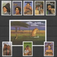 Lesotho (1991) Yv. 935/38 + 963/66 + Bf. 83  /   Movie Stars - Cinema -African Film - Actor - Actress - Cinema