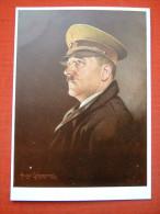 """Farbige Propaganda Bildkarte """"Künstler-Portrait Von Adolf Hitler"""" Von Deutsches Reich, Mit Mängel!! - Allemagne"""