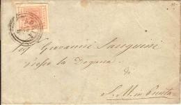 (St.Post.).A.Stati.Lombardo-Veneto.1858.-15c Rosa 2° Tipo Su Lettera,annullo C3 Di Adria (245-12) - Lombardo-Veneto