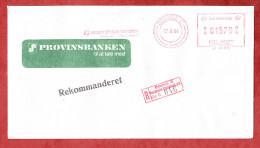 Einschreiben Reco, Absenderfreistempel, Provinsbanken, Odense 1984 (60038) - Cartas