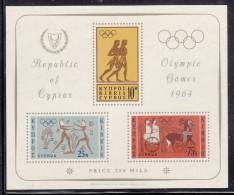 Cyprus MNH Scott #243a Souvenir Sheet Of 3 Runners, Boxers, Chariot - 1964 Summer Olympics Tokyo - Chypre (République)