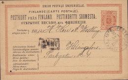 Finland Postal Stationery Ganzsache Entier 10 P Staatswappen Ambulant Bahnpost FINSKA KUPÉ POSTEXPED. 1884 (2 Scans) - Postal Stationery