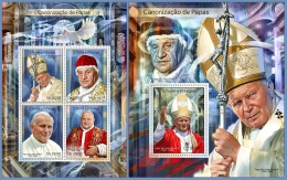 st14304ab S.Tome Principe 2014 Popes 2 s/s Pope Saint John Paul II  Pope Saint John XXIII