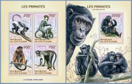 ic14119ab Ivory Coast 2014 Monkey Primates 2 s/s