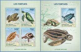 ic14121ab Ivory Coast 2014 Turtles 2 s/s