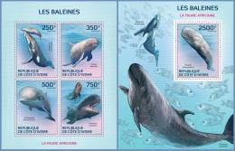 ic14123ab Ivory Coast 2014 Whales 2 s/s
