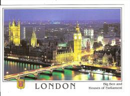 LONDRES : Parlement Et BIG BEN De NUIT /CPM Voyagée Par Avion 2002 / TBE /voir Timbre  +++ - Houses Of Parliament