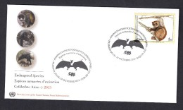 United Nations 2014 FDC. ENDANGERED SPECIES. .Bat And The Potto (Perodicticus Potto) - FDC
