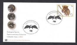 United Nations 2014 FDC. ENDANGERED SPECIES. .Bat And The Philippine Tarsier (Carlito Syrichta) - FDC