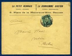 N° 75 S/LSC DE 1898 - PAPIER D'AFFAIRES - T84  RENNES  ILLE-ET-VILAINE - 1877-1920: Periodo Semi Moderno