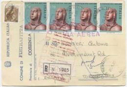 1980 S. CATERINA L. 170x4 + SIRACUSANA L. 20 CARTOLINA ELETTORALE RACCOMANDATA AEREA X CANADA (6346) - 6. 1946-.. Repubblica