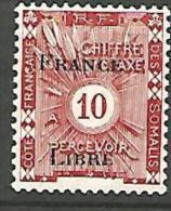 COTE DES SOMALIS TAXE SURCHARGE FRANCE LIBRE  N� 22 NEUF* TTB