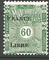 COTE DES SOMALIS TAXE SURCHARGE FRANCE LIBRE  N� 27 NEUF* TB
