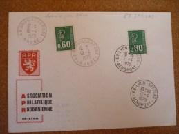 Dernier Jour Bron 19/04/1975 Premier Jour Aéroport Satolas 21/04/1975 - Marcophilie (Lettres)