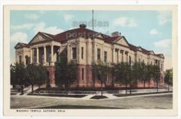 GUTHRIE OKLAHOMA OK , MASONIC TEMPLE BUILDING - 1920s-1930s Vintage Color Postcard - Guthrie