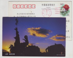 City Sculpture,Ancient Legend Of Shun Ploughing Elephant Team,China 2002 Shangyu Landscape Advert Pre-stamped Card - Elephants