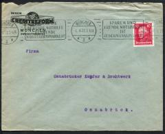 """(1122) Schöner Band- Werbestempel Aus MÜNCHEN 2 Vom 6.4.1927 Nach Osnabrück, """"Fördere Die Deutsche Nothilfe ..."""" - Covers & Documents"""