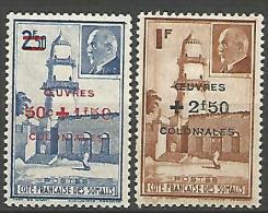 COTE DES SOMALIS YVERT  N� 251/52 NEUF* TTB