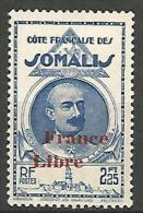 COTE DES SOMALIS SURCHARGE FRANCE LIBRE   N� 227 NEUF** LUXE