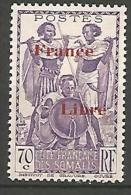 COTE DES SOMALIS SURCHARGE FRANCE LIBRE   N� 218 NEUF** LUXE