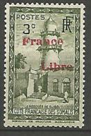 COTE DES SOMALIS SURCHARGE FRANCE LIBRE   N� 205 NEUF** LUXE