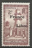 COTE DES SOMALIS SURCHARGE FRANCE LIBRE   N� 204 NEUF** LUXE